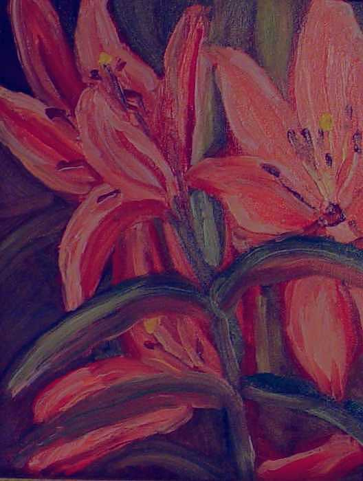 Lillies Plein Air Painting by Helen Musser