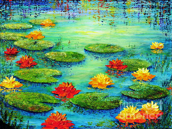 Lily Painting - Lily Pond by Teresa Wegrzyn