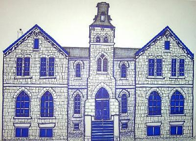 Historic Drawing - Limestone Brick Building 1 Kingson On by Suzanne Berton