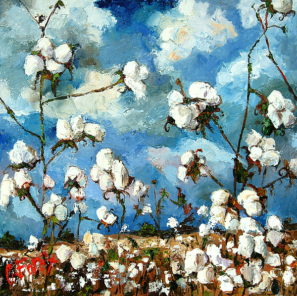 Cotton Painting - Limestone County Cotton by Carole Foret