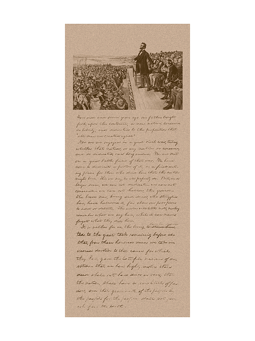 Abraham Lincoln Mixed Media - Lincoln And The Gettysburg Address by War Is Hell Store