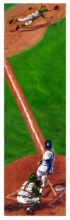 Baseball Painting - Line Drive by Harry West