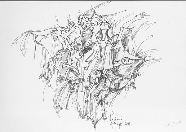 Forms Drawing - Lines And Forms by Padamvir Singh