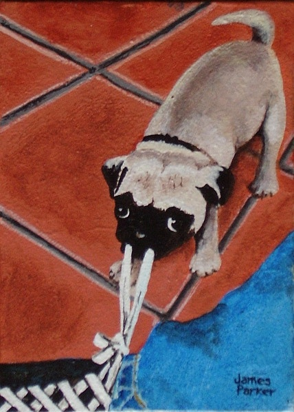 Pug Painting - Linus Pulling Strings by James Parker