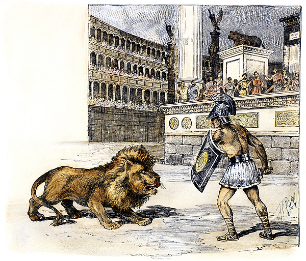 Ancient Photograph - Lion & Gladiator by Granger
