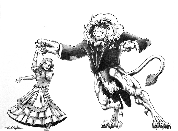 Dancing Lion Painting - Lion Dancing With Girl by Joseph Palotas