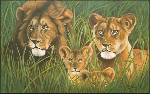 Animal Painting - Lion Family by Henry  Frison