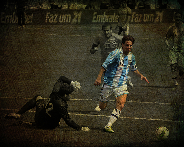 Action Photograph - Lionel Messi Breaking Raphael Cabrals Ankles  by Lee Dos Santos