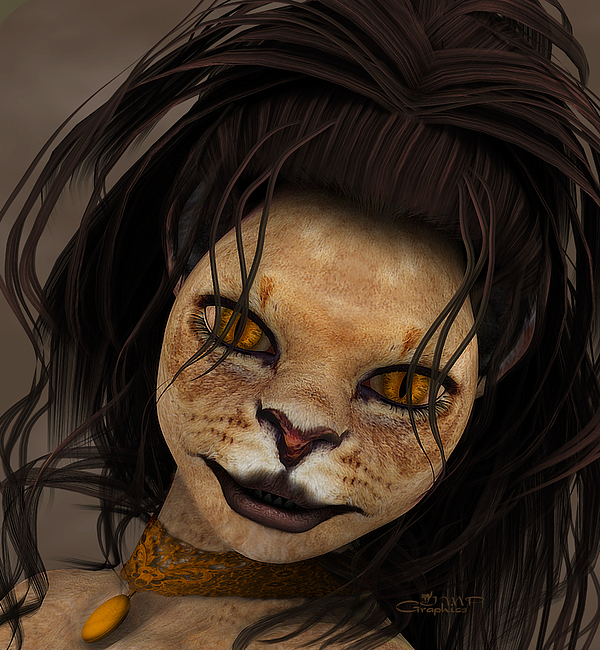 3d Digital Art - Lioness by Jutta Maria Pusl
