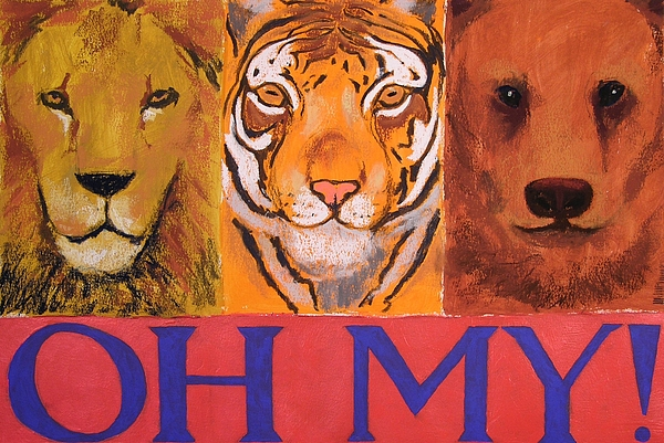 Lion Painting - Lions And Tigers And Bears by Mary McInnis