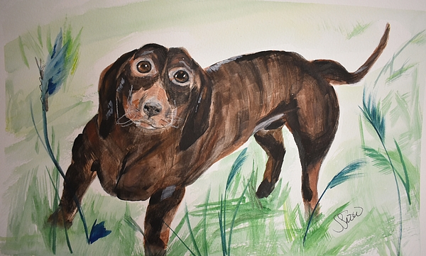 Dog Painting - Little Big Man by Susan Snow Voidets