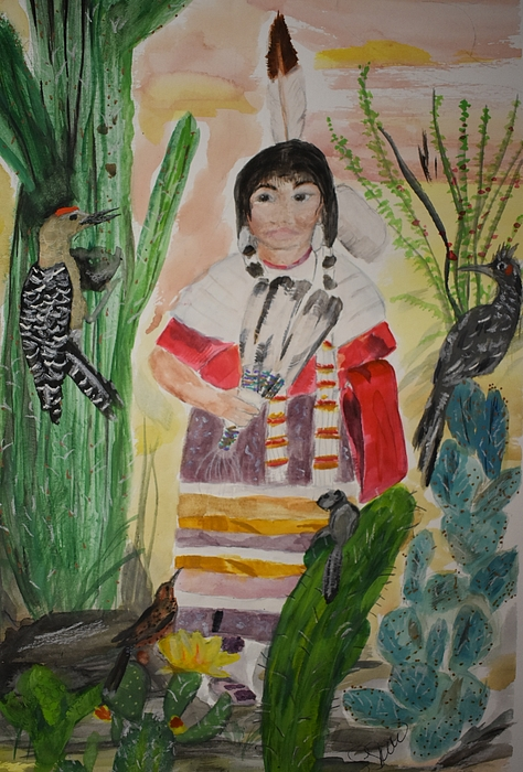 Native American Painting - Little Bird by Susan Snow Voidets