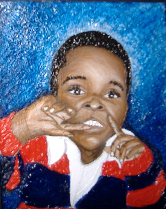Acrylic Painting - Little Boy Blue  by Keenya  Woods