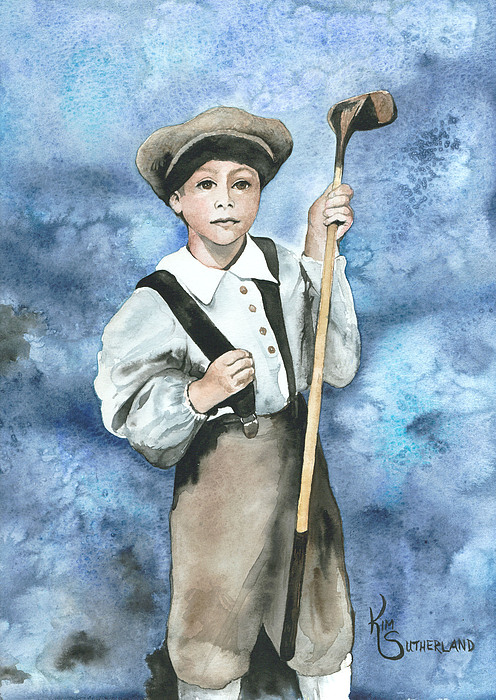 Golfing Painting - Little Caddy by Kim Whitton