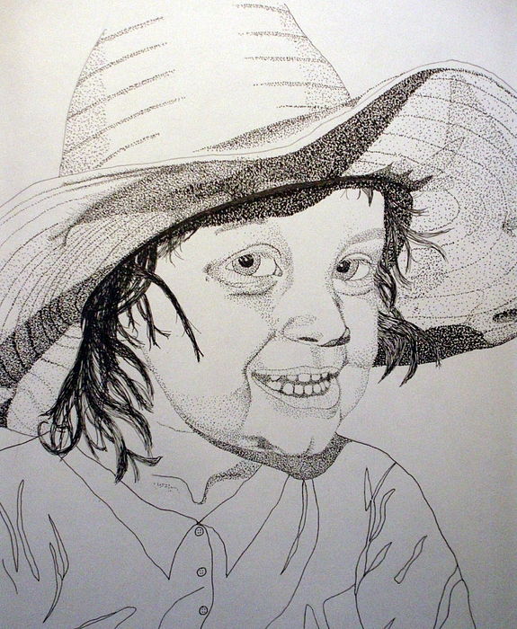 Cow Girl Drawing - Little Cowgirl by Michael Runner