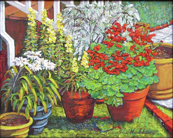 Flower Pots Painting - Little Flower Pot Garden by Thomas Michael Meddaugh