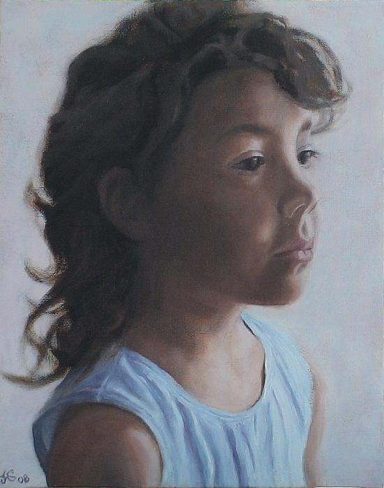 Little Girl In Shadow Painting by Jackie Hoats Shields