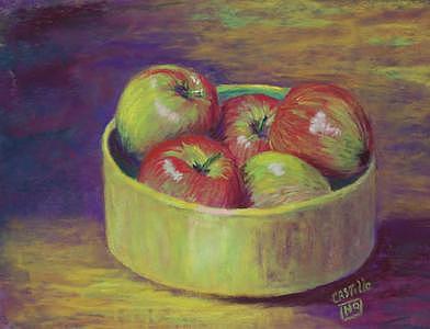 Apples Painting - Little Green Apples by Jo Castillo