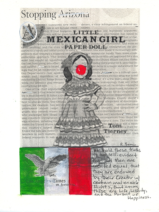 Girl Painting - Little Mexican Girl by Ricky Sencion