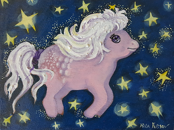 Wood Painting - Little Pink Horse by Rita Fetisov