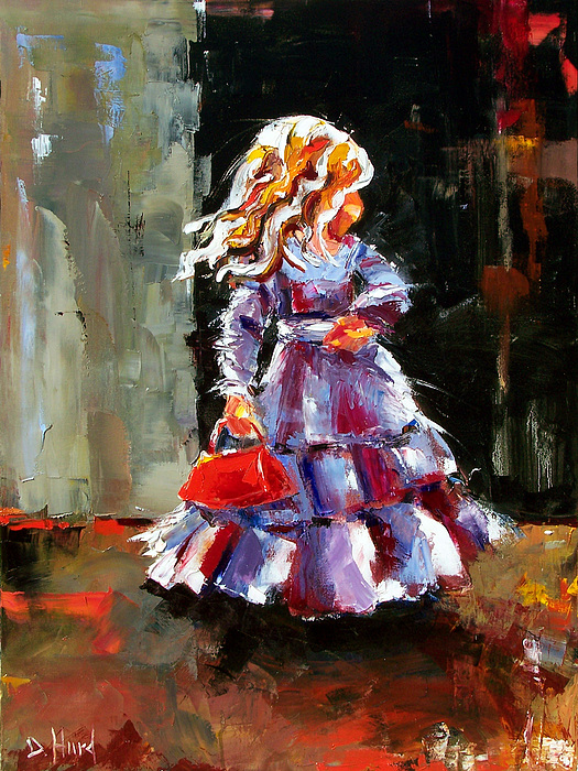 Girl Painting - Little Red Purse by Debra Hurd