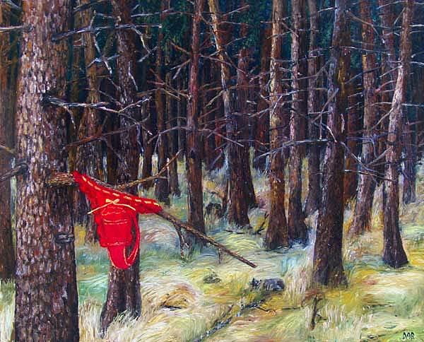 Landscape Painting - Little Red Riding Hood by Dominik Czapka