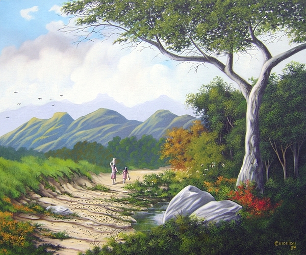 Landscape Painting - Living Simply by Antonio Gomes Comonian