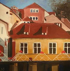 Ljubljana Shapes Painting by Liz Konstantinov