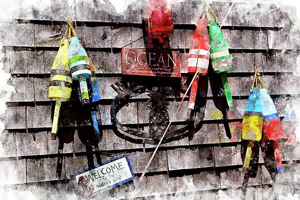 Buoys Digital Art - Lobster Buoys Wc by Peter J Sucy
