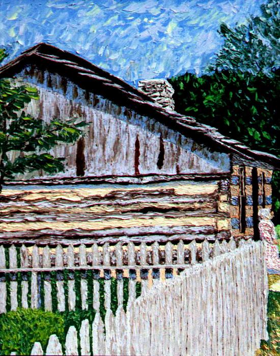 Log Cabin Painting - Log Cabin At Conner Prairie by Stan Hamilton