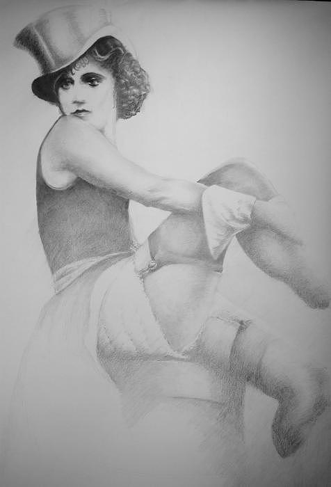 Lola At Der Blue Engel Berlin 1946 Drawing by Jea DeVoe