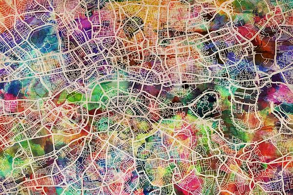 London Map Art Watercolor Digital Art By Michael Tompsett