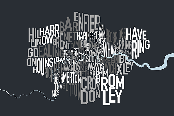 London Digital Art - London Uk Text Map by Michael Tompsett