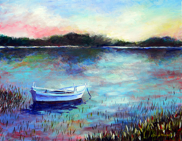 Waterscape Painting - Lone Boat by David  Maynard