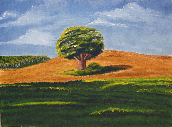 Tree Painting - Lone Tree by Mendy Pedersen