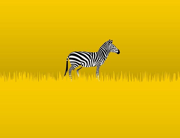 Zebra Digital Art - Lone Zebra by David Strong