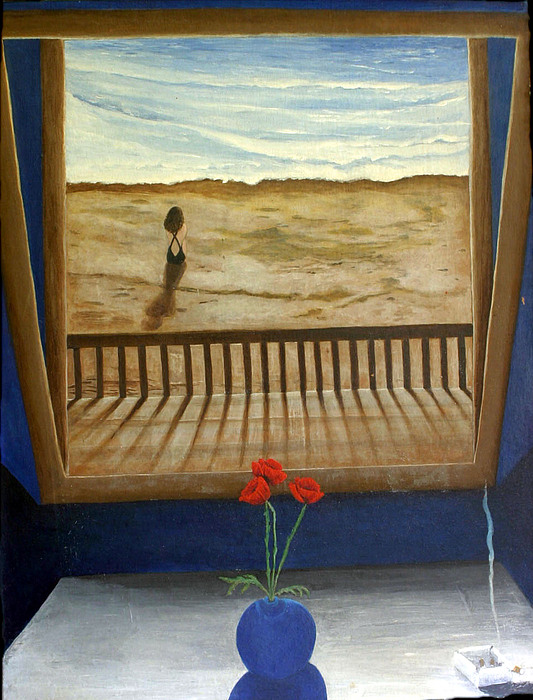 Figurative Painting - Lonely Beach by Georgette Backs