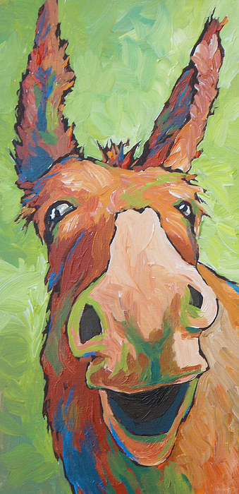 Donkey Painting - Long Face by Sandy Tracey