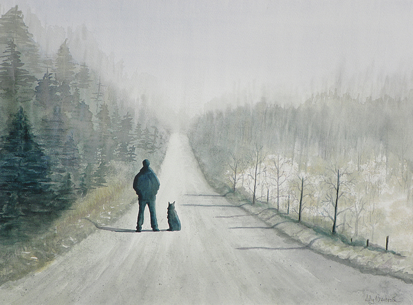 Winter Painting - Long Road Home by Ally Benbrook