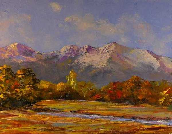 Mountains Painting - Longs Peak In Autumn by Don Barnes