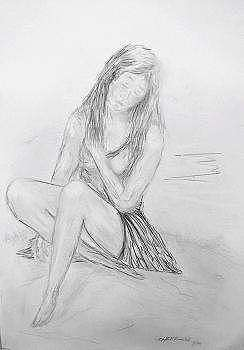 Woman Drawing - Lonley Woman by Miroslaw Chelchowski