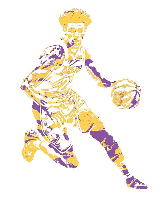 Lonzo Ball Los Angeles Lakers Pixel Art 1 Mixed Media by Joe Hamilton