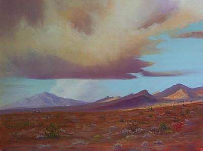 Clouds Painting - Looking For Rain On The Flats by Jo Castillo