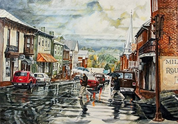 Rural Town Painting - Looking North by Thomas Akers