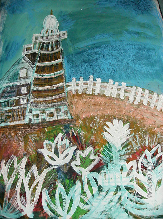 White Fence Painting - Lopsided Lighthouse by Anne-Elizabeth Whiteway