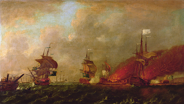 Lord Painting - Lord Howe And The Comte Destaing Off Rhode Island by Robert Wilkins