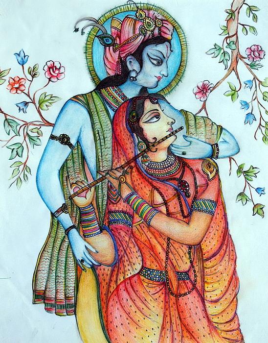 Lord Radha Krishnas Divine Love Painting by Kavita Sarawgi