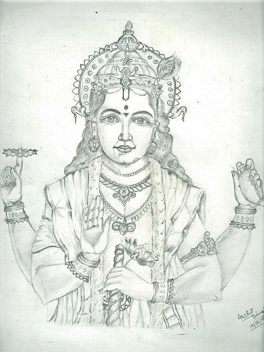 Lord Vishnu Painting - Lord Vishnu by Archit Singh