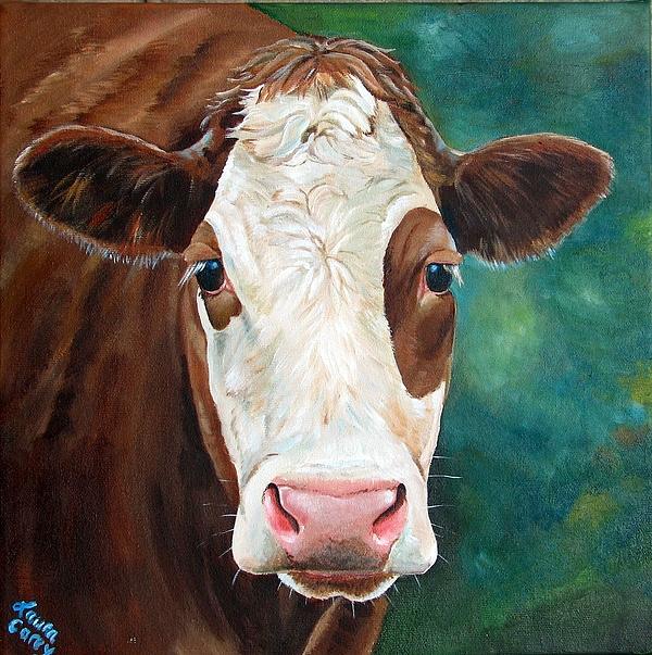 Simmental Painting - Loretta by Laura Carey