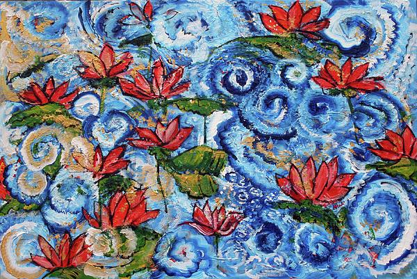 Floral Painting - Lotus Cloud Sea 201759 by Alyse Radenovic